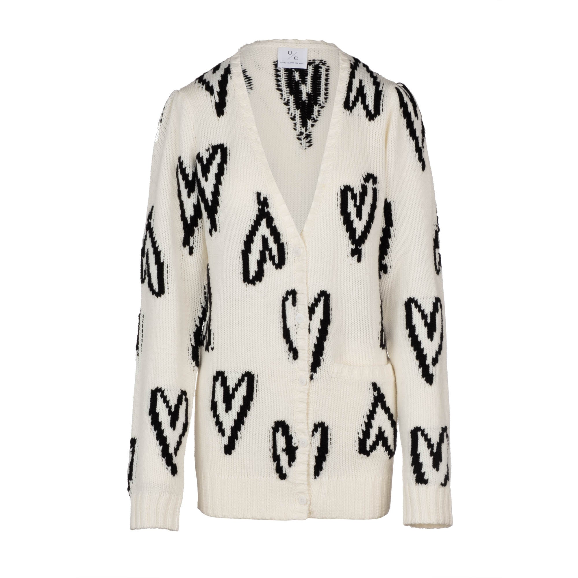 PRE-ORDER: Scribble Heart Cardigan - Cream (Ships 1/30)