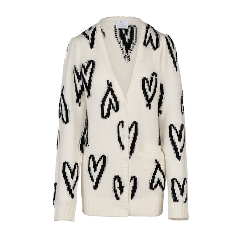Scribble Heart Cardigan - Cream