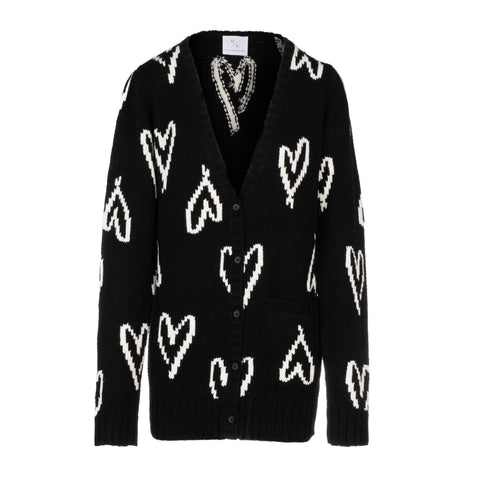 Scribble Heart Cardigan - Black