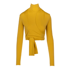 Mustard yellow wrap top