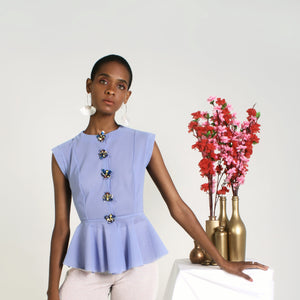 RUNWAY Peplum Bug Top - Pewter