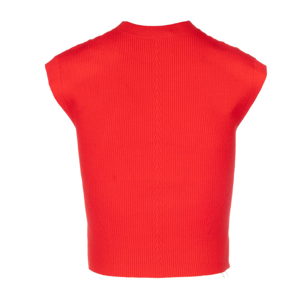 red knit  cap sleeve muscle tank women back