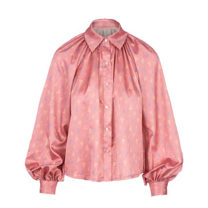 Pink exaggerated sleeve printed blouse