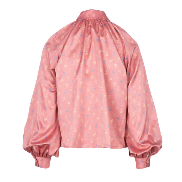 back of Pink exaggerated sleeve printed blouse