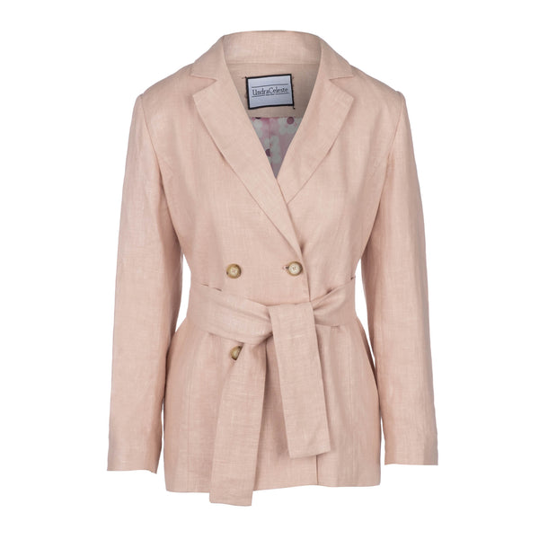 pink blazer with belt