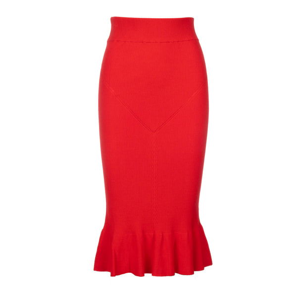 red knit trumpet skirt