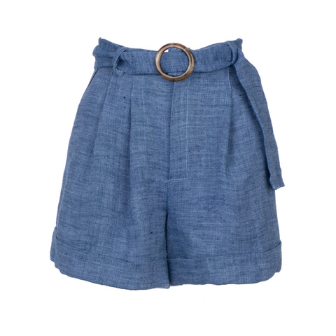 belted chambray short