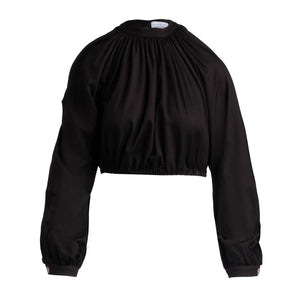 Black exaggerated sleeve crop top