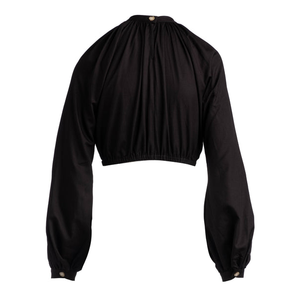 back of Black exaggerated sleeve crop top