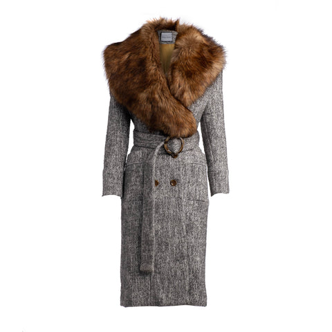 RUNWAY - CHAMBER FAUX FUR COLLAR COAT - GREY
