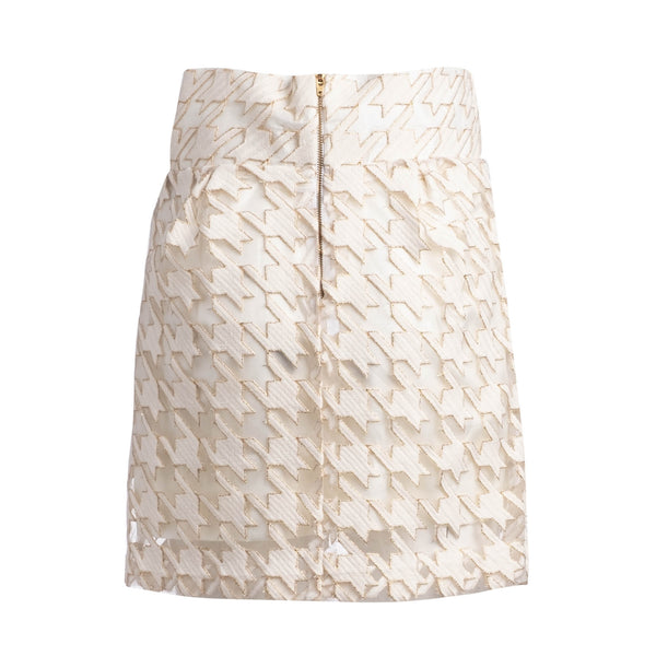 cream herringbone skirt back