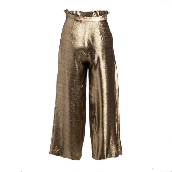gold wide leg pant back