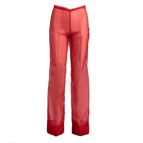 RUNWAY: SHEER SILK TROUSER - POPPY