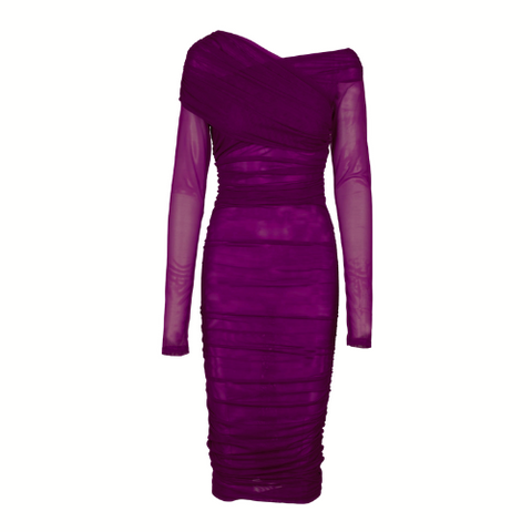 Ruched Mesh Dress - Merlot