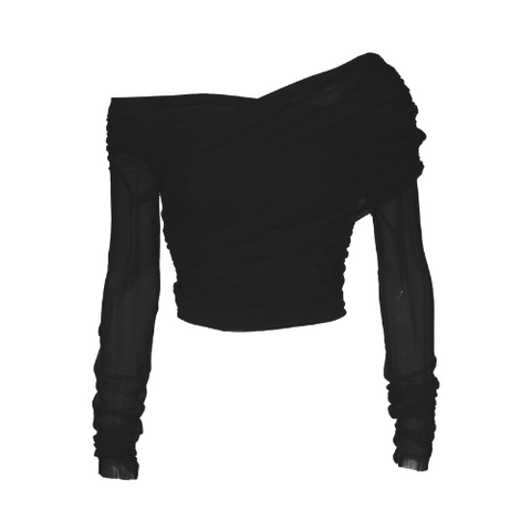 Ruched Mesh Top - Black