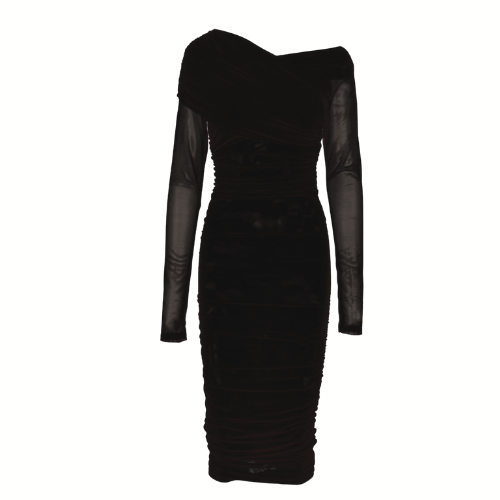 Ruched Mesh Dress - Black