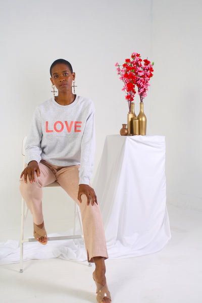 LOVE grey heather sweatshirt on model