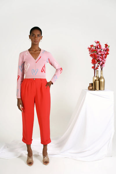 red crop pant on model