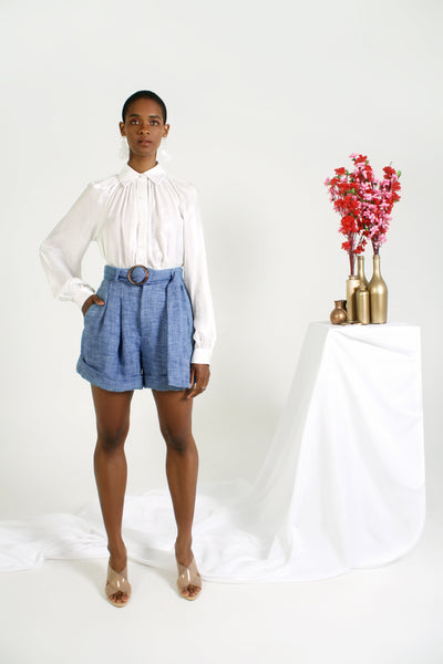 belted chambray short with white shirt