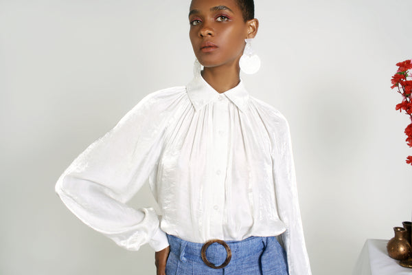 Billow Sleeve Blouse - White