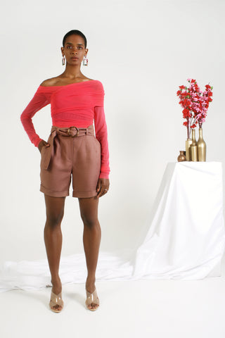 Mauve belted shorts