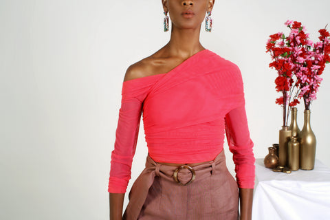 coral one shoulder mesh top