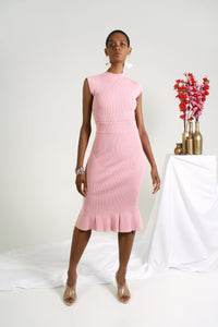 Rib Trumpet Knit Skirt - Power Pink