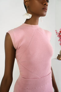 Rib Cap Sleeve Knit Top - Power Pink