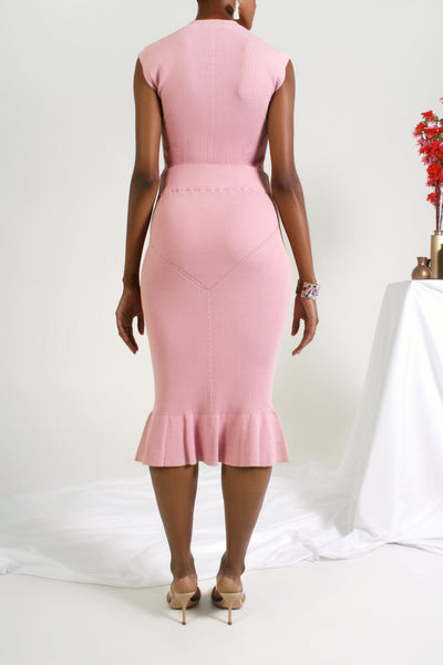 back of the pink knit trumpet skirt