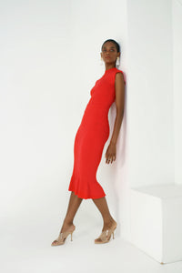 Rib Trumpet Knit Skirt - Poppy