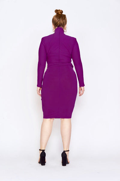 dark purple turtleneck dress merlot back