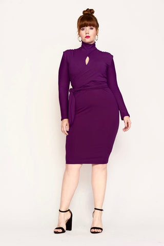 dark purple turtleneck dress merlot front