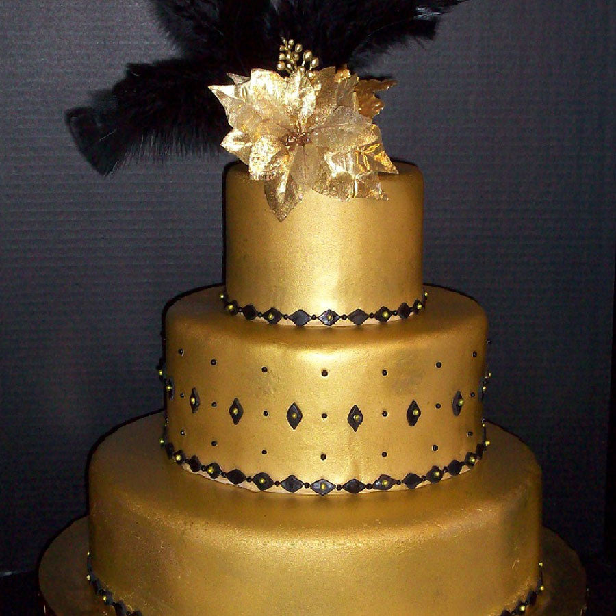 Gold and Black New Year\'s Eve Wedding Cake - Smoochie\'s Creations