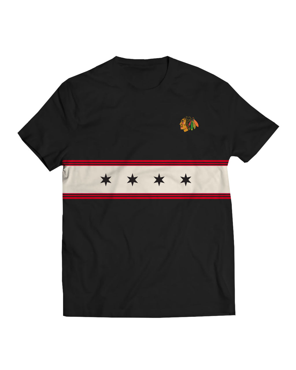 Blackhawks Stars Black Tee