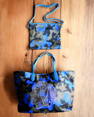 Adhorned Blue Camouflage Tote