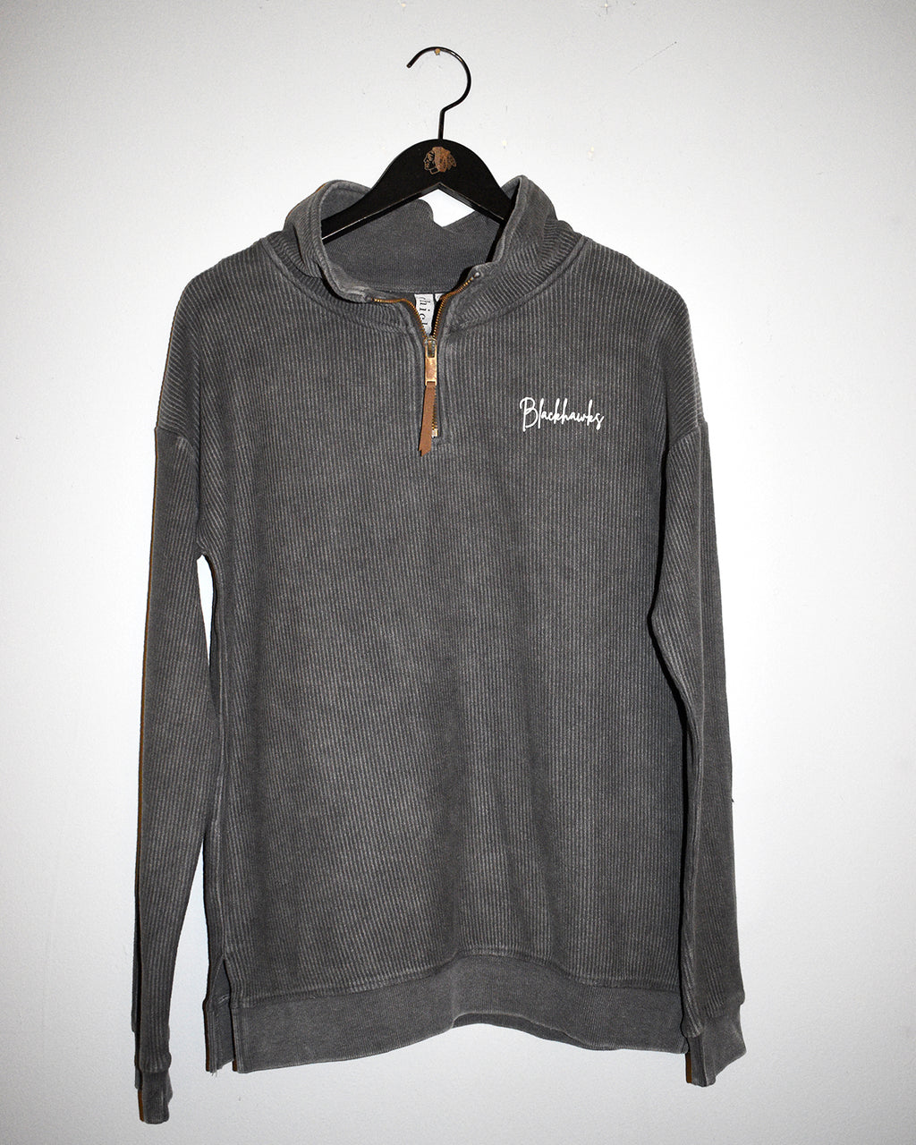 Ladies chicka-d Charcoal Corded Quarter Zip