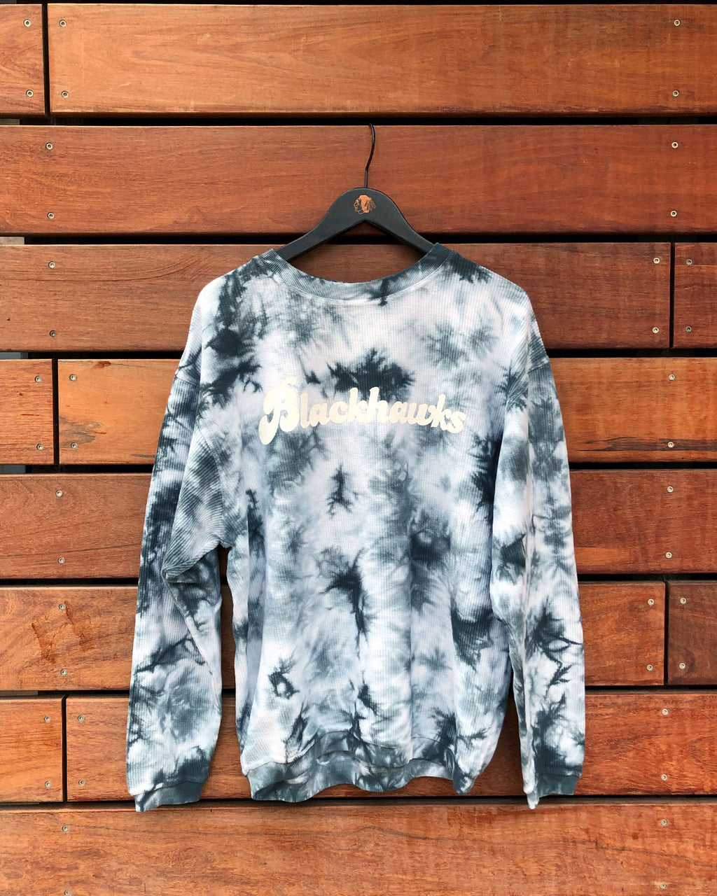 Ladies chicka-d Blue Corded Tie-Dye Crew