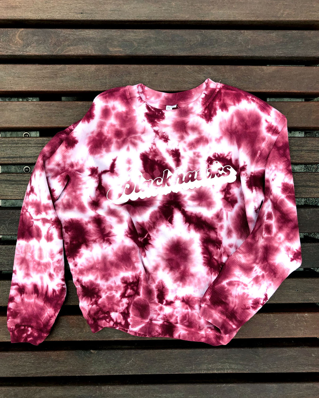 Ladies chicka-d Red Corded Tie-Dye Crew