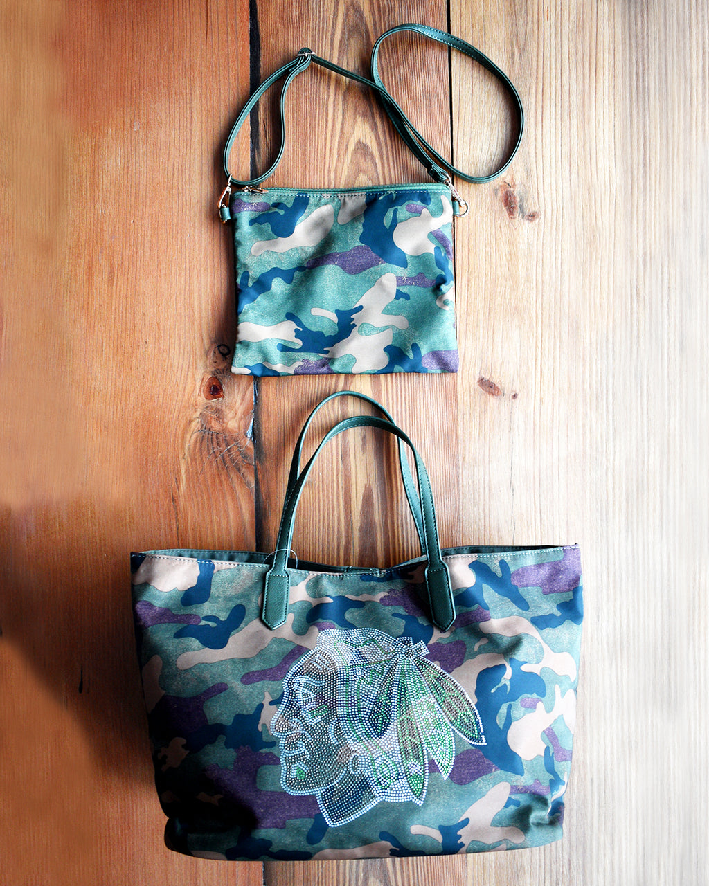 Adhorned Green Camouflage Tote