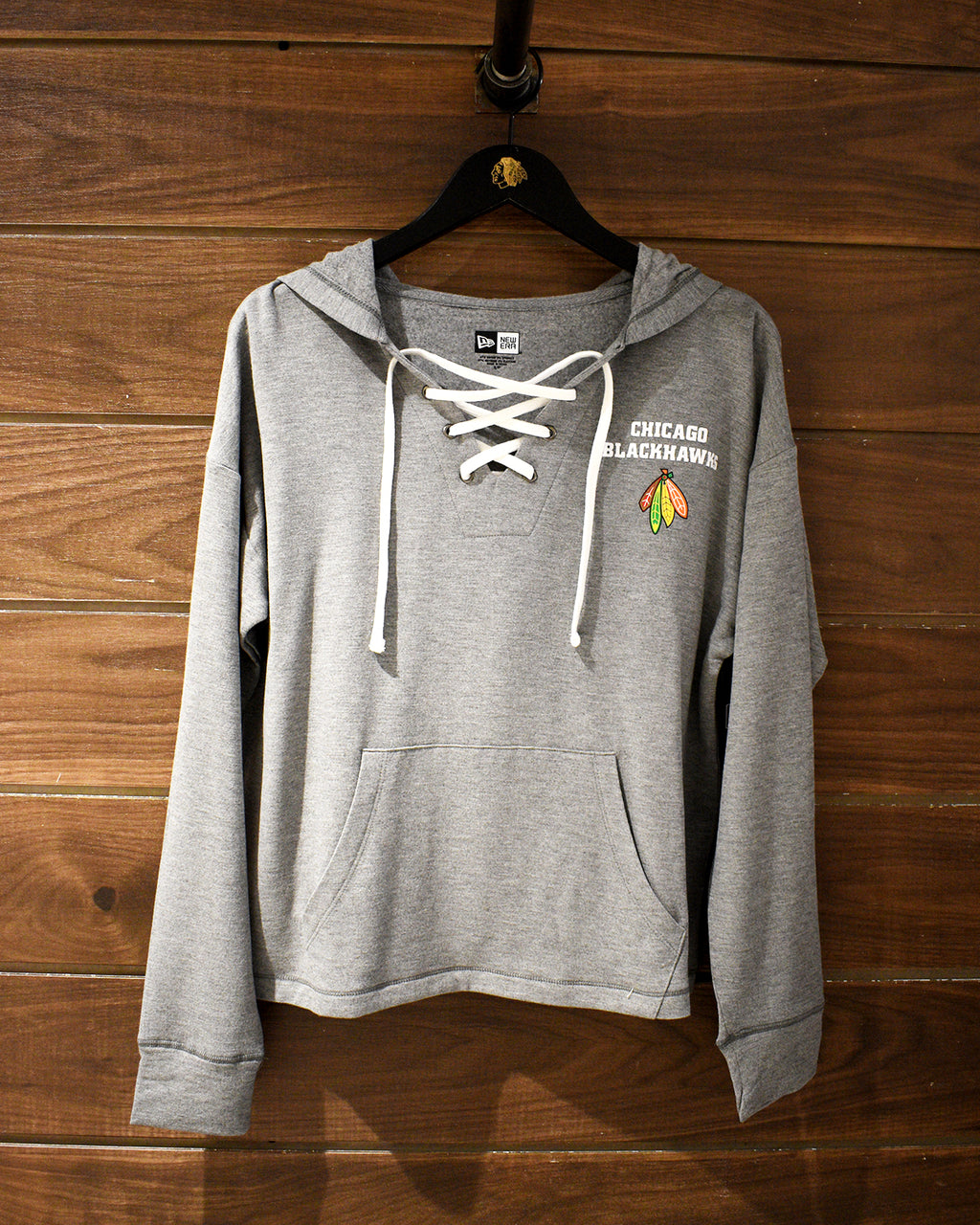 Ladies New Era Gray Lace-Up Hooded Long Sleeve