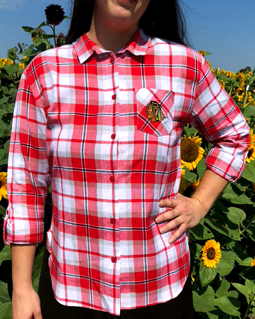 Ladies UG Apparel Red & White Plaid Long Sleeve