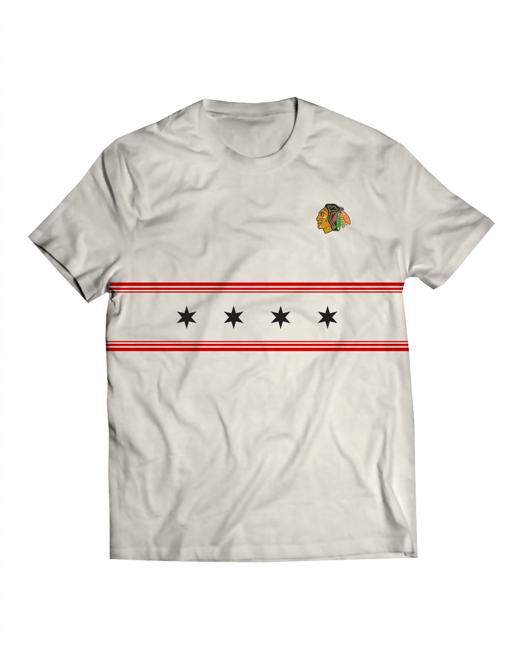 Blackhawks Stars White Tee