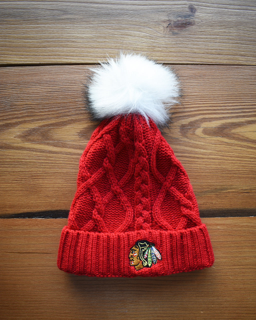 Ladies Zoozatz Red Fuzzy Knit Hat