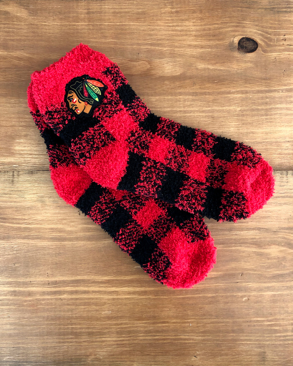 Ladies Zooztaz Plaid Fuzzy Socks