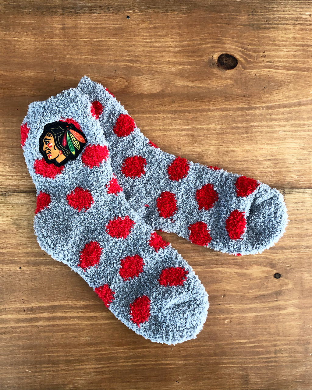 Ladies Zooztaz Red Polka Dot Fuzzy Socks