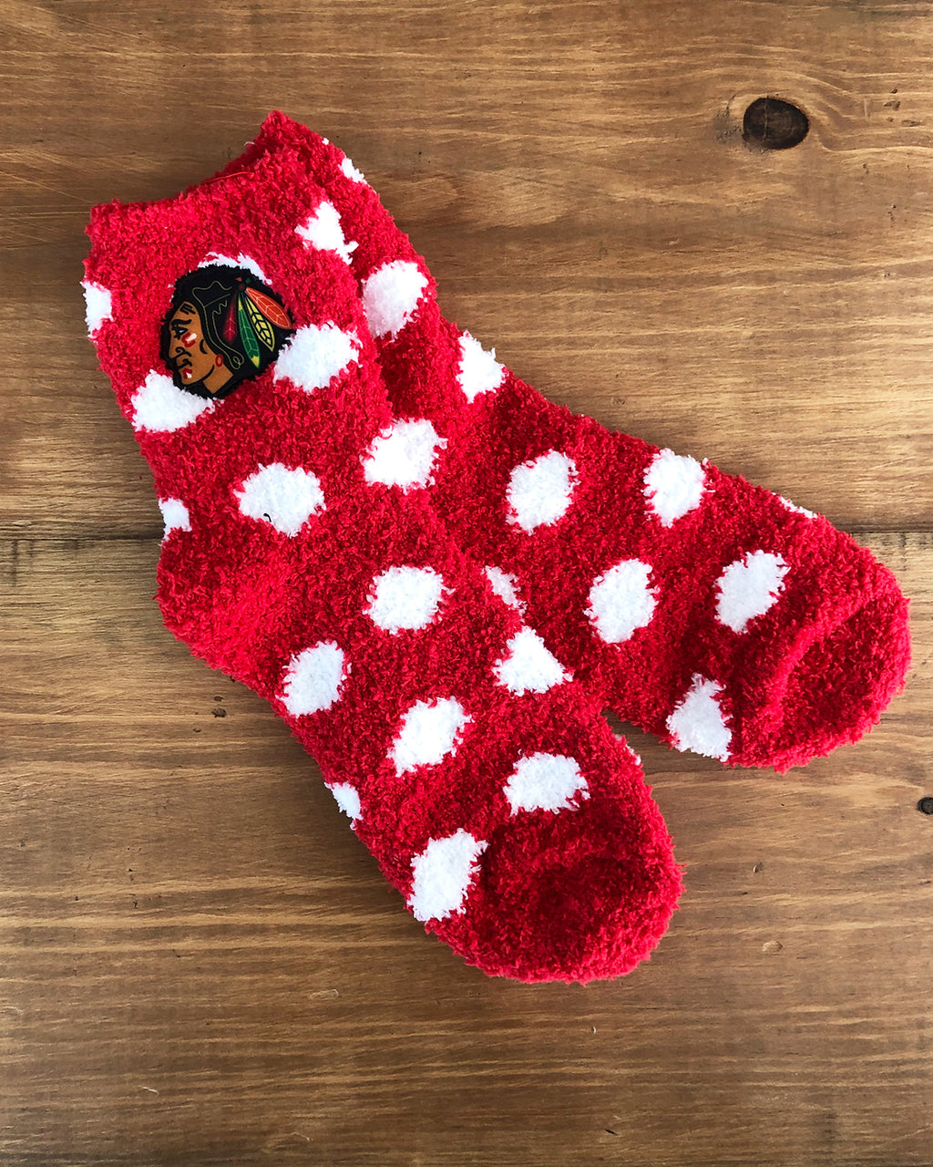 Ladies Zooztaz White Polka Dot Fuzzy Socks