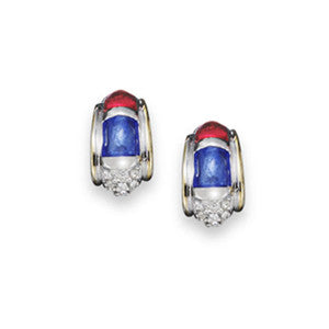 Crystal Red, White & Blue Earrings