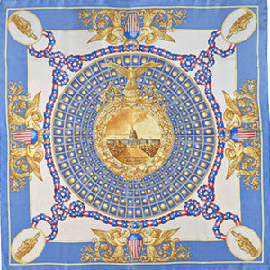 Lady Freedom Silk Scarf-Blue