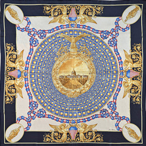 Lady Freedom Silk Scarf-Navy