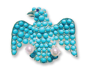 Sterling Turquoise Eagle Pin